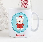 Personalised Kids Mug  - Christmas Bear  (Blue)