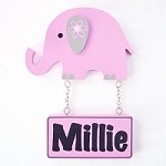 Door Shape with Name - Elephant Pink and Grey