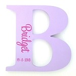 Mauve and Hot Pink Personalised Engraved Wooden Letter