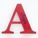 Red and Navy Personalised Engraved Wooden Letter