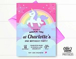 Unicorn Birthday Invitation - Rainbow Unicorn