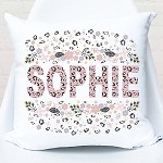 Personalised Floral Leopard Custom Cushion