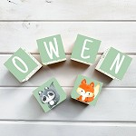 Personalised Name Wooden Blocks - Green Woodland