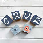 Personalised Name Wooden Blocks - Elephant and Lion