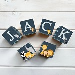 Personalised Name Wooden Blocks - Navy Jungle