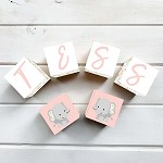 Personalised Name Wooden Blocks - Floral Elephant