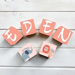Personalised Name Wooden Blocks - Pink Jungle Animals