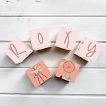 Personalised Name Wooden Blocks - Tribal Feathers