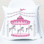 Pink Carousel Personalised Custom Cushion