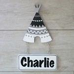 Door Shape with Name - Black and White Tribal Teepee