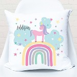 Personalised Rainbow and Unicorn Custom Cushion
