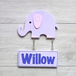 Door Shape with Name - Elephant Mauve