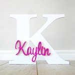 Freestanding Personalised Letter and Name - White