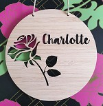 Rose Personalised Bamboo Name Sign