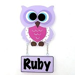 Door Shape with Name - Girl Owl in Mauve