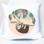 Hanging Peach Sloth Personalised Cushion