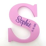 Pink & Purple Personalised Engraved Wooden Letter