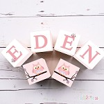 Personalised Name Wooden Blocks - Pink Owl