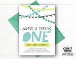 Bunting Birthday Invitation - Simple Bunting