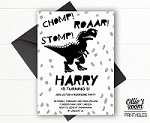 Dinosaur Birthday Invitation - Chomp, Stomp, Roar