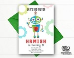 Robot Birthday Invitation - Let's Go Nuts Robot