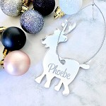 SALE - PHOEBE Deer Christmas Ornament SILVER