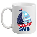 Personalised Kids Mug/Cup - Sailing boat