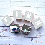 Personalised Name Wooden Blocks - Transport Grey