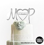 Initials With Large Heart and Date Wedding Cake Topper