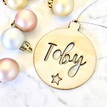 Personalised Christmas Bauble with Star (ply wood)
