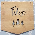 Woodland Trees Personalised Bamboo Name Sign Pennant