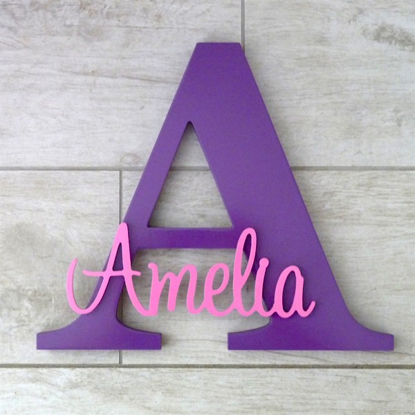 Freestanding Personalised Letter and Name - Purple